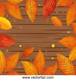 background wooden with autumn leafs