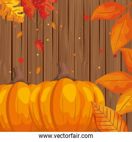 pumpkins with leafs and nuts autumn pattern background