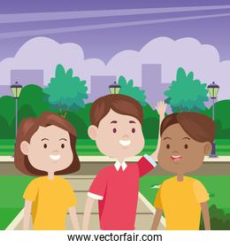 young people characters in the park