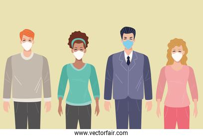 group of people using face mask for covid19