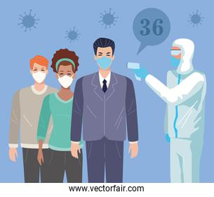 people using face masks in temperature check point for covid19