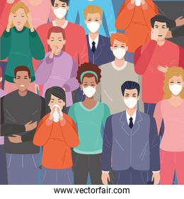 group of people sick with covid19 symptoms and others using face masks