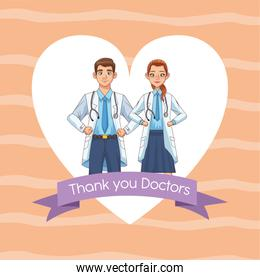 professionals doctors couple avatars characters