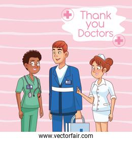 interracial professionals doctors staff avatars characters