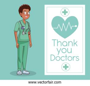 professional afro female doctor avatar character