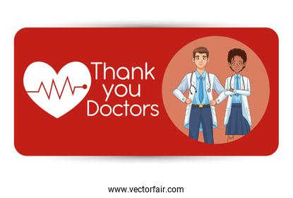 interracial professionals doctors couple avatars characters