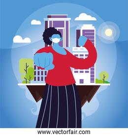 strong woman using face mask in the city
