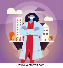 female doctor using face mask in the city