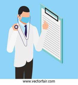 professional doctor using face mask with checklist