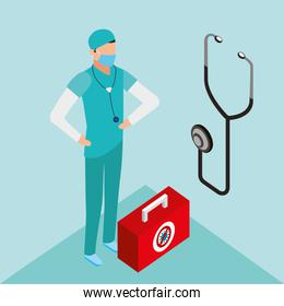 professional doctor using face mask with stethoscope over blue
