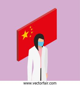 female doctor with face mask with china flag