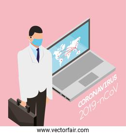 professional doctor using face mask with laptop