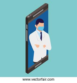 professional doctor using face mask in smartphone