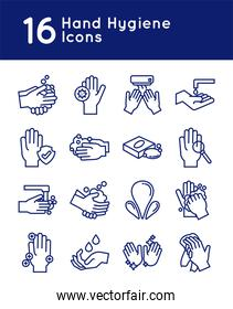 bundle of hands washing line style icons