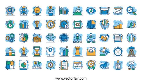 start up and business set icons