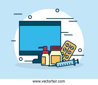 shopping online concept, computer and medicines elements, colorful design