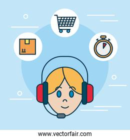 shopping online concept, phone assistant and delivery related icons around, colorful design