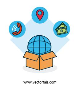 shopping online concept, box with global sphere and related icons around, colorful design