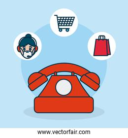 shopping online concept, telephone and delivery relared icons, colorful design