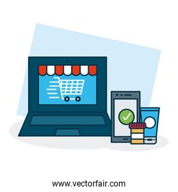 shopping online concept, laptop computer with shopping cart on screen and smartphone, colorful design