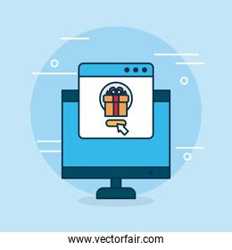 shopping online concept, computer with shoppping page with gift box on screen, colorful design
