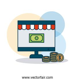 shopping online concept, computer and money bill on screen, colorful design