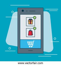 shopping online concept, smartphone with gift box and shopping cart on screen, colorful design