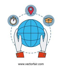 shopping online concept, hands holding a global sphere and delivery icons around, colorful design
