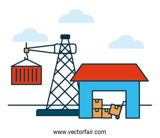 shopping online concept, warehouse with boxes and crane tower with container, colorful design