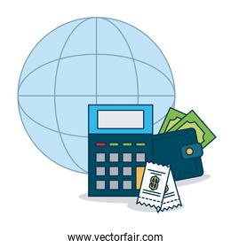 shopping online concept, global sphere and calculator, wallet and money, colorful design