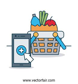 shopping online concept, smartphone and shppping basket with groceries, colorful design
