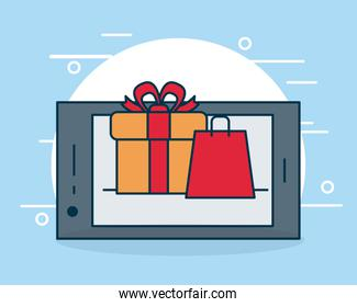 shopping online concept, smartphone with gift box and shopping bag, colorful design
