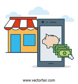 shopping online concept, store, smartphone with piggy bank on screen, colorful design