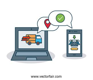 shopping online concept, laptop computer and smartphone device with related icons, colorful design
