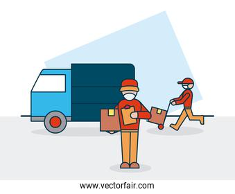 shopping online concept, delivery men with boxes and cargo truck, colorful design