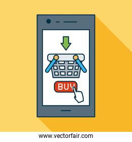 shopping online concept, smartphone with shopping basket icon on screen, colorful design