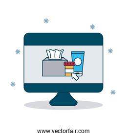 shopping online concept, computer with medicines bottles on screen, colorful design
