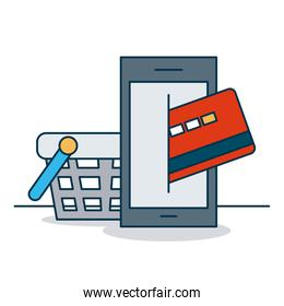 shopping online concept, smartphone with credit card and shooping basket, colorful design