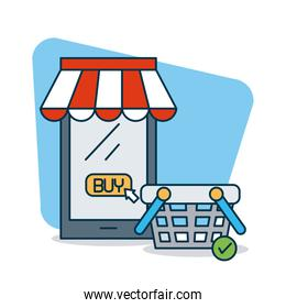 shopping online concept, smartphone with store tent and shopping basket, colorful design