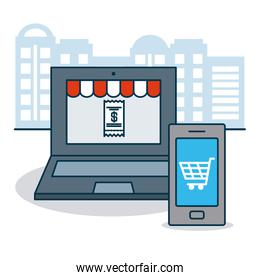 shopping online concept, laptop computer and smartphone with shopping cart icon on screen, colorful design