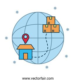 shopping online concept, global sphere with house and boxes icon, colorful design