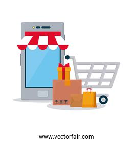 shopping online concept, smartphone, boxes and shopping cart, colorful design