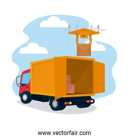 shopping online concept, cargo truck and drone holding a box, colorful design