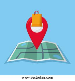 shopping online concept, map with location pin with shopping bag icon, colorful design