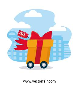 shopping online concept, fast cart with gift box, colorful design
