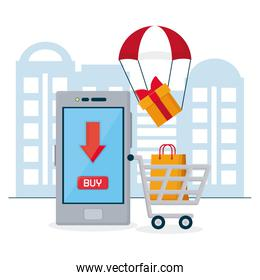 shopping online concept, smartphone and shopping cart and parachute with gift box, colorful design
