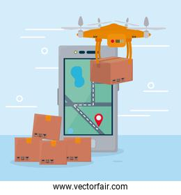 shopping online concept, smartphone and drone with boxes, colorful design