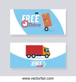 free delivery design with cargo truck and boxes, colorful design