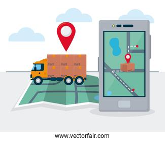 shopping online concept, cargo truck and smartphone with map on screen, colorful design