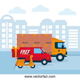 shopping online concept, delivery truck, van and motorcycle, colorful design